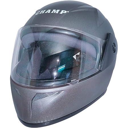 Mob2shop Full Face Helmet for men Grey Clear Visor(Size:58 cm, Medium, ISI)