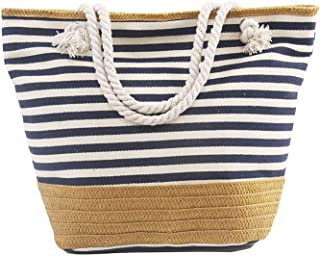 Large size straw striped canvas beach bag, zip pocket travel bag, Christmas gift
