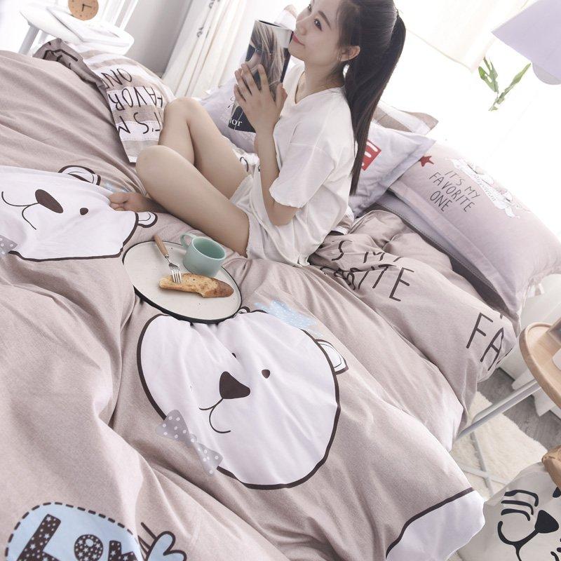 JHロンゲスコットンツイルプリント4ピース綿AB掛け布団カバーシートセット高密度高密度寝具(HN。子供っぽいクマの心、1.5 m / 1.8ライスベッド適して(キルトカバー200 * 230 cm))