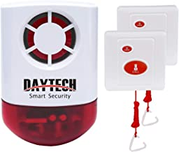 Daytech Wireless Strobe Siren Alarm Home Caring Loud Outdoor SOS Alert System 1 Red Flashing Siren and 2 Emergency Button for Store Home Hotel Jewelry Shop Security & Fire Alarm