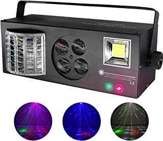 Easife 2019 NEW 4 in 1 Stage DJ Lights with Mixed Effect Sound Activated RGBW LED Pattern Lights Strobe Light By Remote and DMX Control for DJ Club Disco Party Wedding Birthday Christmas(Black)