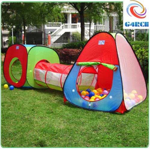 Kids Pop Up Play Quality Tent 3 Piece Adventure Crawl Tube Tunnel Xmas Birthday Gift Fast UK Shipping