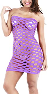 Yczx Women's Mesh Fishnet Babydoll Mini Dress Strapless Sexy Hollow Design Bodycon Lingerie Dress for Sex Errotic Slutty N...