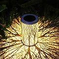 Solar Lantern Outdoor Lights Metal Hanging Garden Lantern for Patio?Courtyard, Party, Walkway,Terrace, Garden, Lawn Decorative (1 Pack) (White)