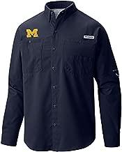 Columbia Men's Michigan Wolverines Blue Tamiami Long Sleeve Shirt XXL