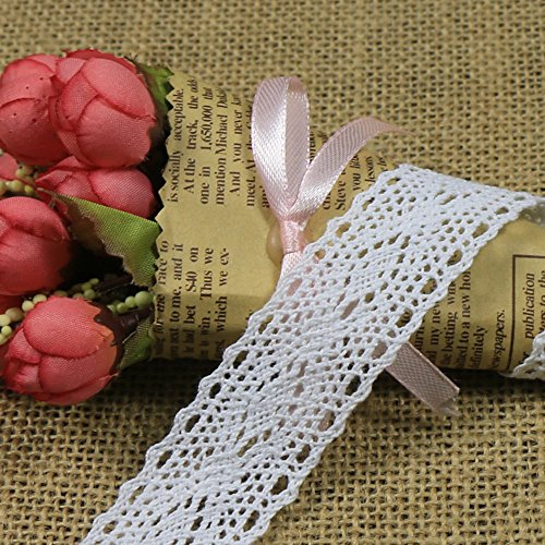 10 yardas cinta de encaje de encaje borde cinta deco, frontera de encaje vintage, encaje, arco, cinta de regalo de boda bordure (Blanco)