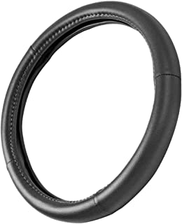 Motor Trend GripDrive Pro Black Odorless Synthetic Leather Steering Wheel Cover - Small 13.5