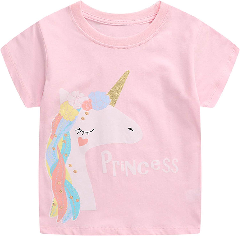 Agoky Kids Girls Summer Cotton Cartoon Print T-Shirt Tops Crewneck Short Sleeve Basic Tee Daily Wear