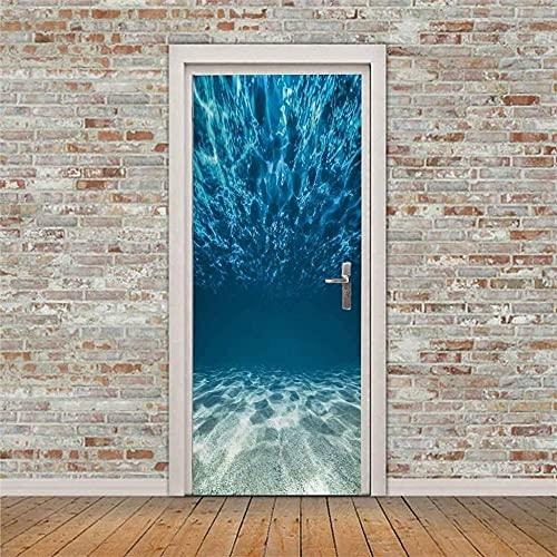 3Dインテリア家の装飾ドア壁画青い海の景色ドアステッカーポスター壁紙リビングルーム寝室バスルームオフィス取り外し可能な防水アートドアステッカー77X200CM