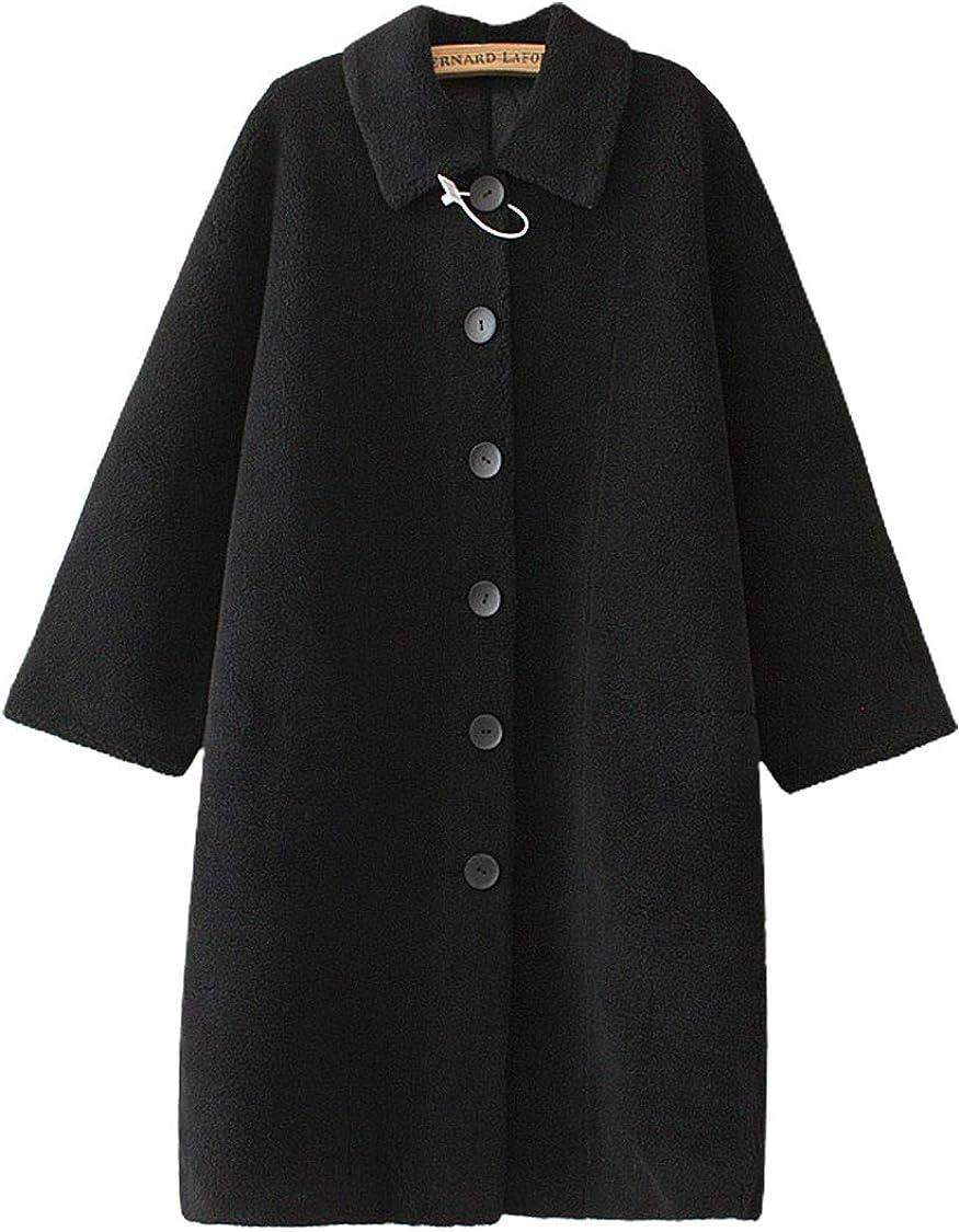 ebossy Women's Single Breasted Faux Shearling Shaggy Cozy Sherpa Long Coat