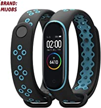 injoy Bands for Xiaomi Mi Band 4, Newest Sports Durable TPU Silicone Replacement Wristband Anti-Off Waterproof Bracelet Strap for Xiaomi Mi Band 4 (black and blue)(brand:mijobs)