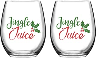 Jingle Juice Christmas Wine Glass, 15 Oz Funny Stemless Wine Glasses for Women Friends Men, Gift Idea for Christmas Wedding Party, Set of 2