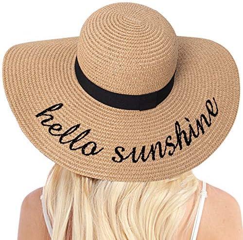 Womens Straw Hat Wide Brim Floppy Beach Cap Adjustable Sun Hat for Women UPF 50 Hello Sunshine product image