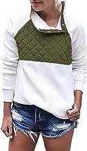 TOTOD Women Warm Flannel Patchwork Long Sleeve Turtleneck Sweatshirt Outwear Pullover Shirt Tops