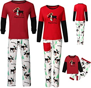 Aviat Matching Family Pajamas Sets Christmas,Soft&Casual Sleepwear,Printed Letter Top+Cartoon Pants Xmas Loungewear Fit for Party Holiday,Decor for Family,Kids,Boys,Girls,Festive PJs