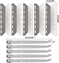 SHINESTAR Replacement Grill Parts for Charmglow 720-0234, 720-0289, Kirkland 720-0025, 17 5/16 inch Stainless Steel Heat Shield Plate Tents Flame Tamers & 16 13/16 inch Burner Tubes (Set of 5)