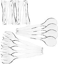 مجموعة من 12 - أدوات تقديم بلاستيكية متينة للاستعمال مرة واحدة، أربعة ملاعق وشوكات مقاس 25.4 سم، أربعة حلقات مقاس 16.5 سم،...