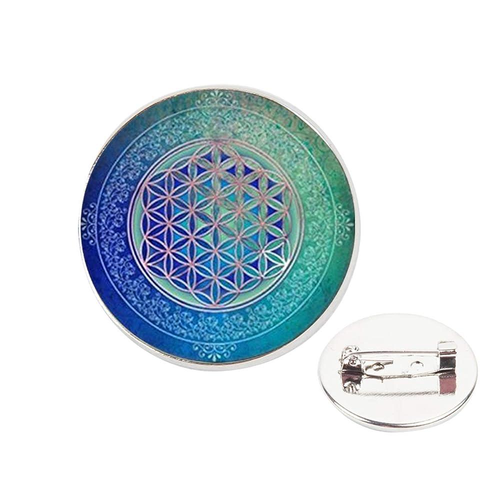 Pinback Buttons Badges Pins Blue Flower of Life Tibet Lapel Pin Brooch Clip Trendy Accessory Jacket T-Shirt Bag Hat Shoe