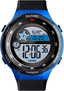 SKMEI Digital Sport Watch Day and Date Display Waterproof Stop Watch Alarm Blue Black Rubber Band