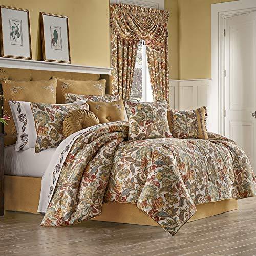 Five Queens Court August 100% Cotton Floral Jacobean Luxury 4 Piece Comforter Set, Multi Spice Color, Queen 92x96