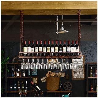 JFFFFWI Supports à Verres en métal fixé au Mur Suspendu Porte-Bouteille de vin au Plafond casiers à vin réglable en Hauteu...