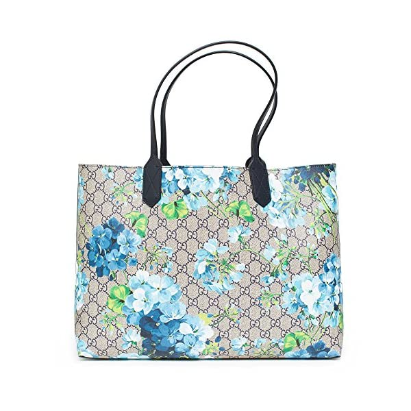 Fashion Shopping Gucci Blossoms Blue Navy Reversible GG Blooms tote Leather Handbag Bag New