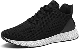 XUJW-Shoes, Summer Breathable Athletics Sneakers for Men Sport Running Shoes Lace up Knit Mesh Fabric Lightweight Antislip Hollow Outsole Durable Comfortable (Color : Black, Size : 6.5 UK)