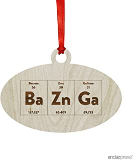 Andaz Press Laser Engraved Wood Christmas Ornament with Gift Bag, Periodic Table Bazinga, Oval Shape, 1-Pack, Birthday Present Ideas for Geeky, Science, Lab, Professor, Teacher, Chemistry Physics