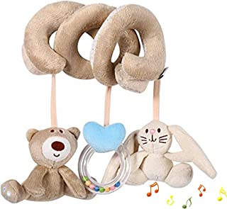 Baby Toys for 0 3 6 to 12 Months Newborn Hanging Soft Plush Spiral Activity Squeaky Animal Toy fits Infant bed Stroller Cr...