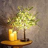 Dekoratives Lichterbaum | Leuchtbaum mit 24 Warmweißer LEDs Licht | 45cm Lichterzweige für Tischdekoration | Zeitschaltuhr USB und Batterien | Weihnachten Ostern Party Innendeko (Olivenbaum 45cm)