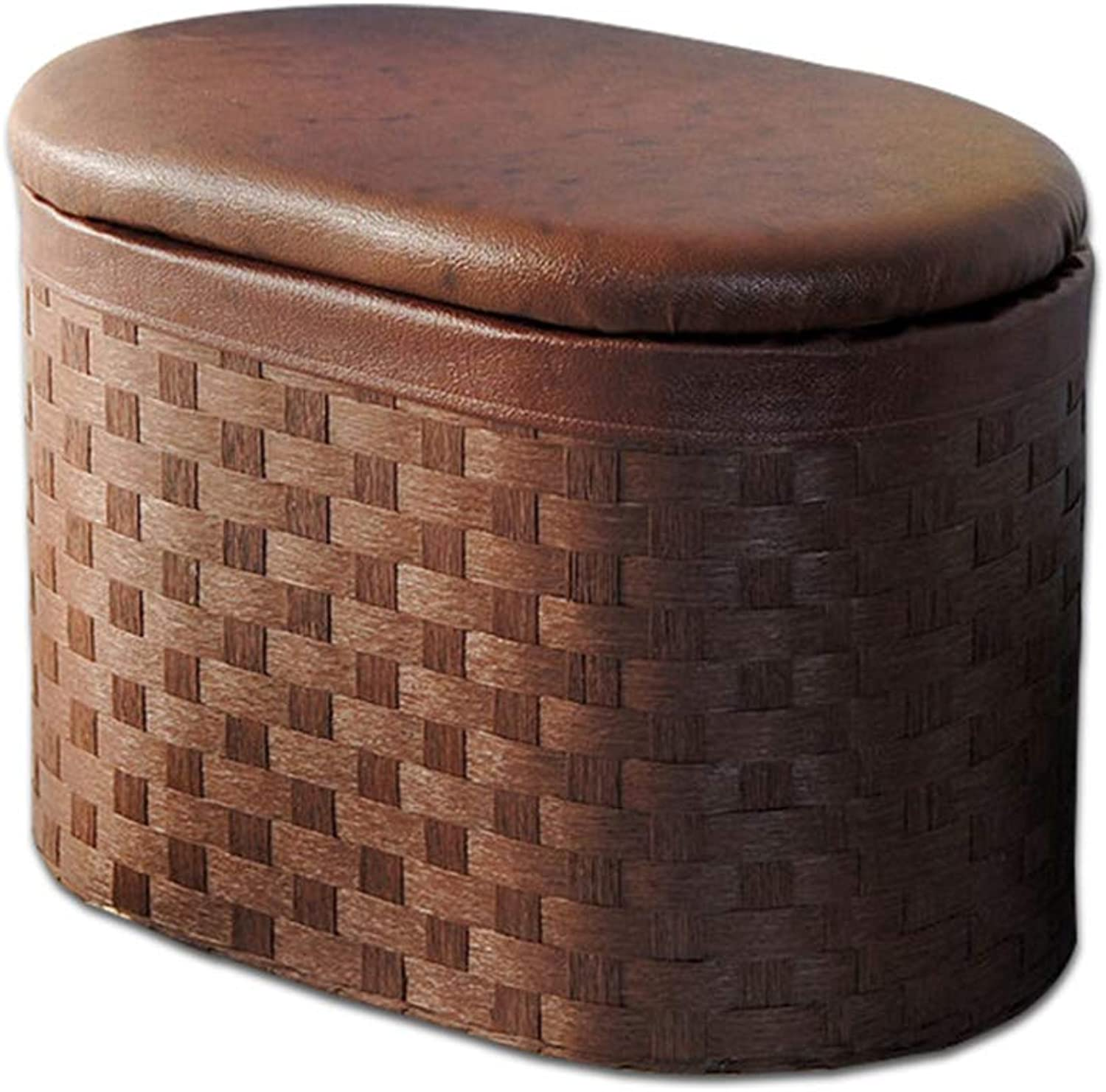 Storage Stool shoes Bench Hand-Woven Brown Oval Creative Multi-Function Stool (Size   50  30  35 cm)