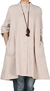 BBYES Women's Cotton Linen Full Front Button Down Tunics Jacket Outfit Pockets