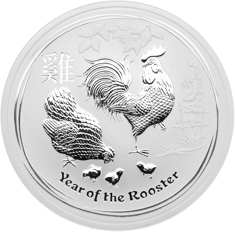 5 oz Australien 2017 Lunar II  Year of the Rooster  (Hahn) 5 Unzen 999 Silbermünze