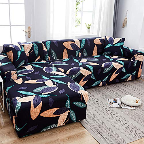 flqwe Estiramiento Chaise Sofa Cover,Funda de sofá Universal, cojín de sofá Antideslizante de Cuatro Estaciones con Todo Incluido, 1 Pieza-H_Doble (145-185 cm)