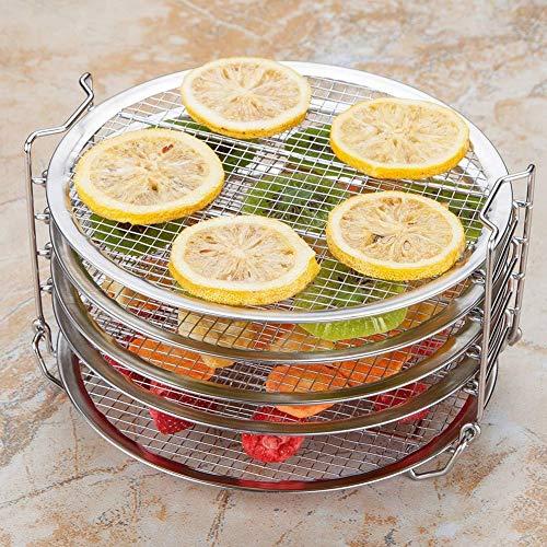 Nannday Griglia per Barbecue impilabile, griglia per Barbecue in Acciaio Inossidabile a 5 Strati impilabile Accessori per Frutta disidratata per Carne Adatta per friggitrice 8QT