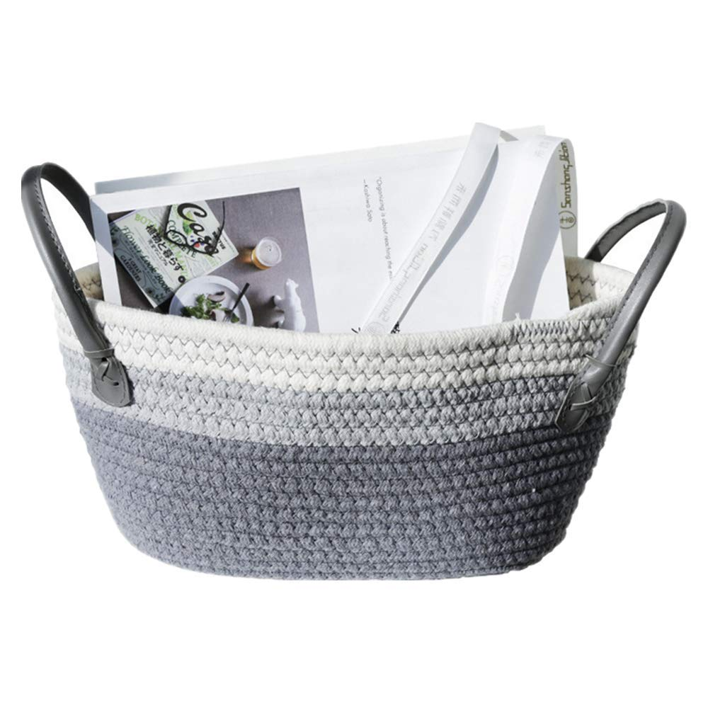 Cotton Rope Basket,Small Woven Basket, 9-1/2 inch X 2-3/4 inch X 6-3/4 inch, Baby Cotton Basket, Children's Home Decor