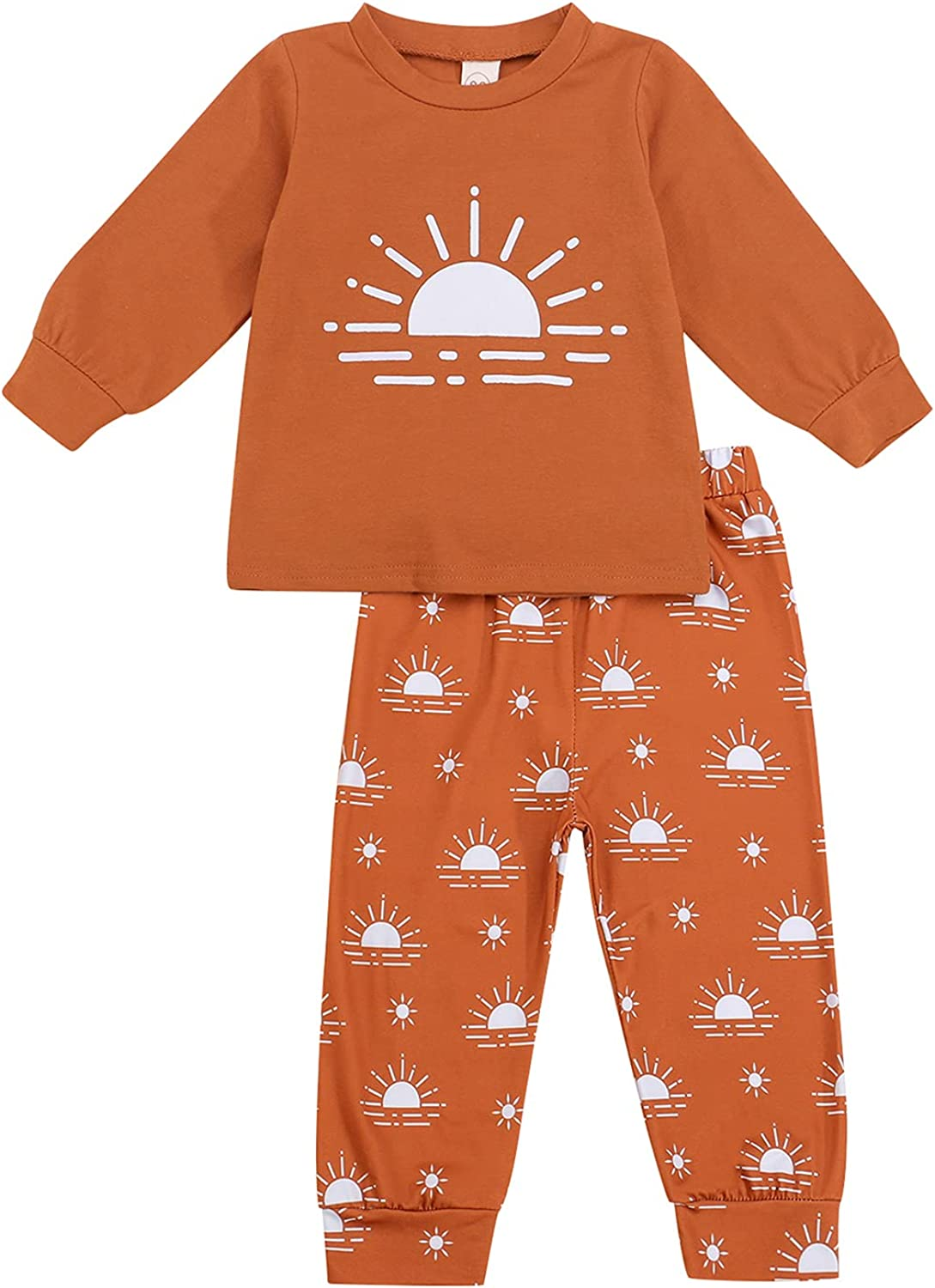 Baby Boy Fall Clothes Cute Sun Print Long Sleeve Pullover Sweatshirt Top and Pants Set 2 Piece Newborn Auntie Outfits
