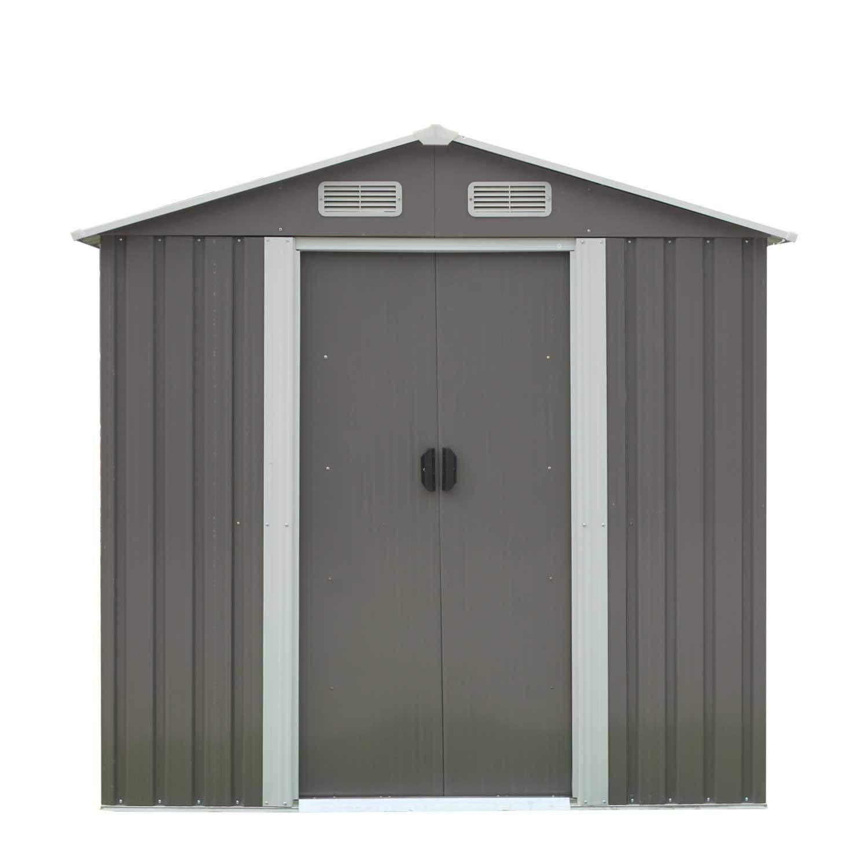 Juego de cobertizo de herramientas de almacenamiento para jardín, con rejilla de cobertizo, garaje impermeable, partes de acero galvanizado con puertas gris correderas, 10 x 15 cm, color gris: Amazon.es: Jardín