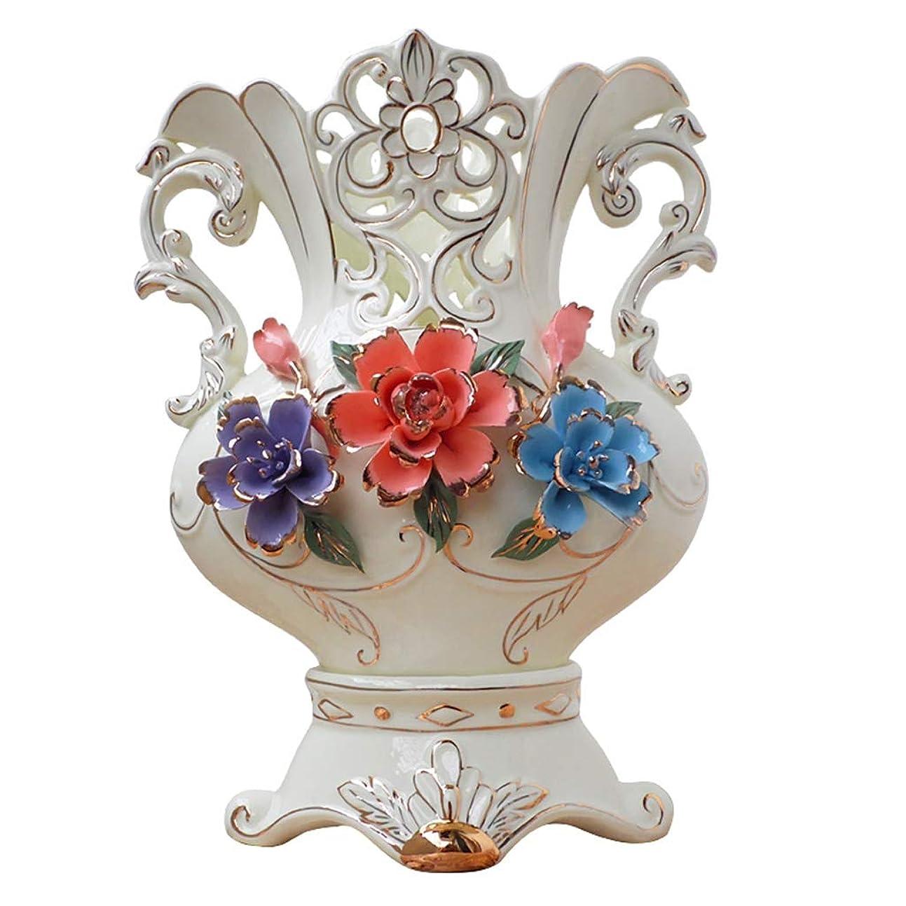 フィクションスマッシュ商品花瓶 ダブル耳世帯リビングルームのテレビキャビネットポーチ磁器の装飾装飾工芸で乾燥させ、人工花のアレンジメントのためのヨーロッパのセラミック花瓶、 (Color : 26x15x35cm)