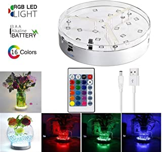 6inch Under Vase Lights,Multicolors RGB LED Table Lights Vase Lights 3 AA Batteries Operated Base with Remote for Halloween Party Wedding Home Shisha Hookah Decor(3 AA Batteries not Included)