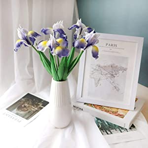 Iris Flower Artificial Flower Wedding Bouquet with Long Stem 5 Branches for Decoration Home Kitchen Party Without Vase