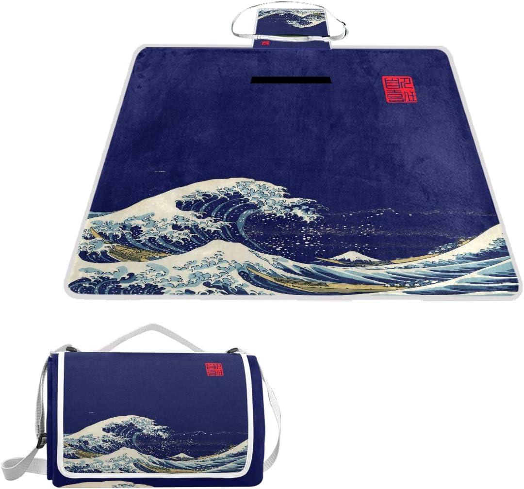 WELLDAY Picnic Blanket Wave Kanagawa Waterproof Large Very popular Handy Los Angeles Mall Blue