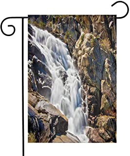 National Parks Home Decor Garden Flag Stream Bedrock in Sunny Day Wild Lands Hike Mother Earth Motion Decorative Flags for Garden Yard Lawn W12 x L18 Grey White