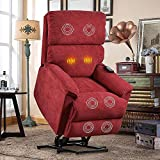 Modern Seat Lift Chair for Elderly with Massage & Heat, Arm Chair Heavy Duty Lift Chairs Electric Recliner Chairs with Control Soft Living Room Sofa,Red
