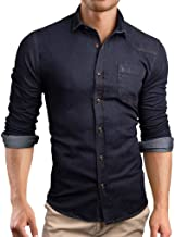 MIS1950s Mens Long Sleeve Casual Shirts with Pockets Regular Fit Solid Panel Button Down Denim Shirt for Men