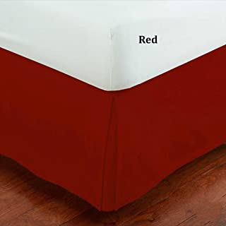 Mk Collection 100% Finest Quality Long Staple Brushed Microfiber Comfortable Pleated Bed-skirt Solid New (Full, Red)
