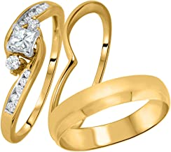 1.00 Carat White Simulated Diamond 3pcs His and Her 14K Yellow Gold FN Sterling Trio Set Ring & Wedding Band Fashion Jewelry
