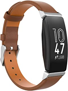 TiMOVO Replacement Band Compatible with Fitbit Inspire/Inspire HR/Ace 2, Pure Color Leather Band Watch Strap for Women Soft Sport Wrist Bands fit Fitbit Inspire/Inspire HR/Ace 2 - Brown