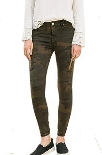 Zilcremo Pantalones Vaqueros De Camuflaje Ajustados con Bolsillos para Mujer