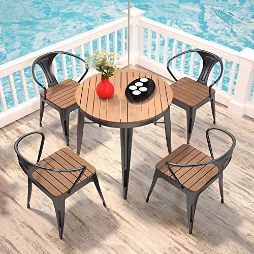 DNNAL Conjuntos de Muebles de Porche del Patio, 5 Piezas de Mesa al Aire Libre y Silla combinación terraza Patio balcón pequeño Mesa de café Conjuntos